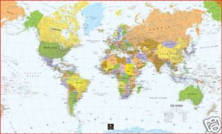 World Map Mural Poster Wall Map Paper Laminated Framed