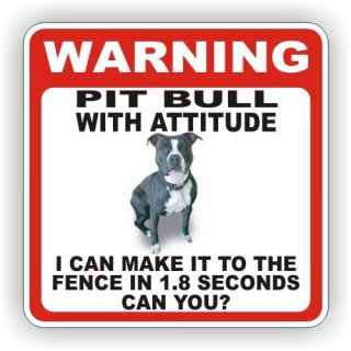 PIT BULL BLACK DOG WARNING SIGN FENCE 12 X 12 POLY STY