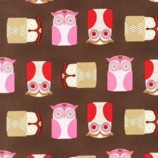 Choclate Owls, Kiss Me, Robert Kaufman Pink Red Brown Girl Baby