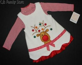 Bonnie Baby Reindeer Christmas Holiday Fleece Jumper Dress Set