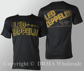 Authentic LED ZEPPELIN Square Gold Logo T Shirt S M L XL XXL Official