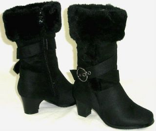 Kid Girls Slouch Low Heel Buckle Boots*Pageant Costume* Faux Suede Fur