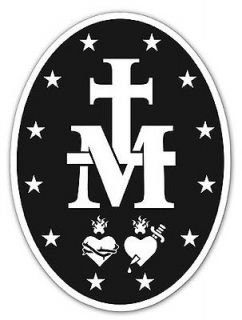Religious Catholic Miraculous Medal Vinyl Car Decal Bumper Sticker MM