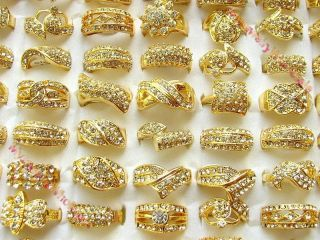 jewelry mix lots 10pieces crystal Rhinestone plated 24k Gold Rings New