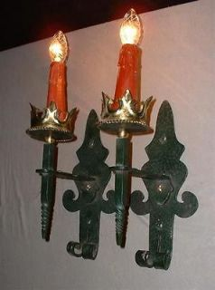 LARGE FRENCH WROUGHT IRON SCONCES MEDIEVAL GOTHIC LOOK 2 pairs