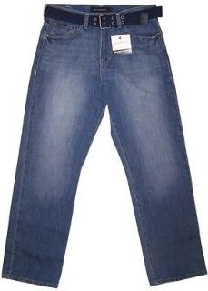 Calvin Klein Mens Relaxed Straight Jeans w/Belt Light Wash NWT