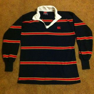 CANTERBURY of New Zealand Stripe Rugby Polo Shirt   Size Large 42, Red