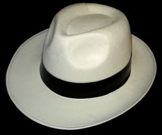 Al Capone Gangster Mob Trilby Hat White Black Michael Jackson Fancy