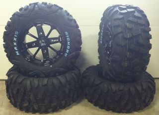 Black 14 ATV Wheels 28 Maxxis BigHorn Tires Arctic Cat Wildcat (4
