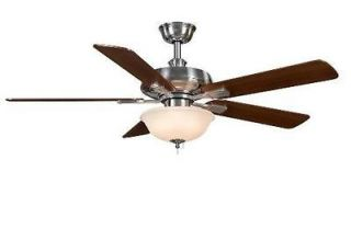 Hampton Bay Larson 52 inch Ceiling Fan with Light Kit Brushed Nickel