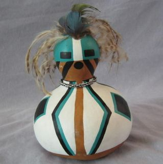 Native American GOURD FIGURE Doll signed by artist Lana Paolillo