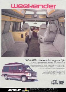 1988 Turtle Top Chevrolet Weekender Van Camper Brochure