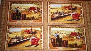 International Harvesters Tractors & Farm Quilt or Placemat Panel