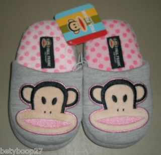 Paul Frank Julius Monkey Grey Pink Girls Slippers Sz XS 11 12 S 13 1 M
