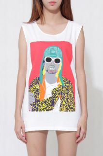 Kurt Cobain Nirvana Unisex Sleeveless Cream Women Rock T Shirt
