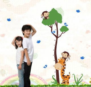 Monkey Tree Height Chart Wall Decal Decor Sticker Removable Nursery