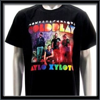 Sz XL Coldplay Alternative Rock Band Black Men T shirt Black Tour