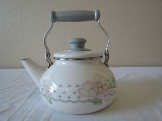SANGO ENAMEL COOKWARE TEA KETTLES   WHITE & GRAY COLOR, WITH PINK