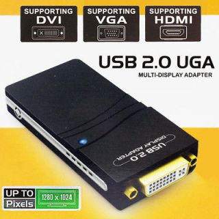 USB 2.0 to DVI/VGA/HDMI Multi Display Adapter Converter