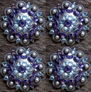 BERRY CRYSTALS BLING CONCHOS HORSE SADDLE HEADSTALL SAPPHIRE AQUA