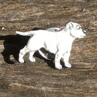 Dog Breed Jewellery English Staffordshire Bull Terrier White Lapel Pin