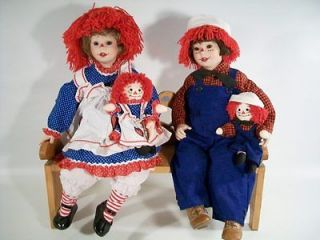 Rare Danbury Mint Exclusive Porcelain Dolls Raggedy Ann & Andy