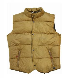 NWT DIESEL Brand Mens Warwick Yellow Quilted Nylon Puffer Vest Jacket