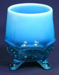 Fenton? Glass Blue Opalescent Vase, Planter, Spooner Bowl or Compote