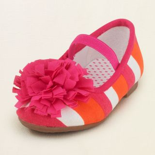 baby girl   pompom stripe ballet flat  Childrens Clothing  Kids