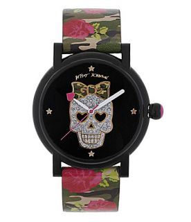 Betsey Johnson Skull with Rose Military Strap Watch  Dillards