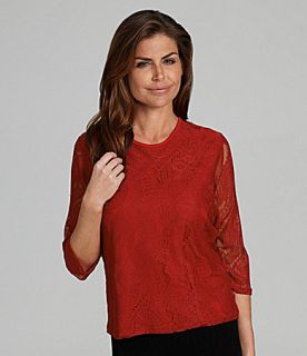 TanJay Petites Stretch Lace Crewneck Top  Dillards