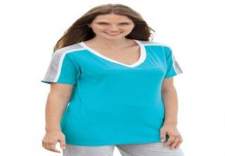 Plus Size Colorblock rib knit tee  Plus Size Short Sleeve  Woman