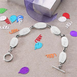 Personalized Birthday Sterling Silver Bracelet   4461