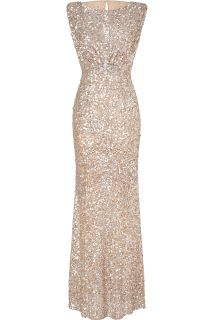 Jenny Packham Soft Gold Sleeveless Sequin Gown  Damen  Kleider