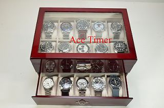 20 watch Glass Top Rosewood Display & Storage Case Box + Free