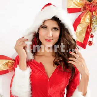 4Pcs Sexy Santa Ladies Christmas Party Dress Long Slevess Free Size