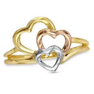 Triple Heart Ring in 10K Tri Tone Gold   Rings   Zales