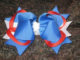 Red White Blue Girls Baby Toddler Boutique Hair Bow Olympics USA UK