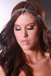 Silver High Polish Metal Rhinestone Draped Head Piece @ Amiclubwear