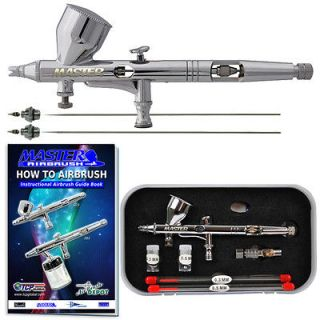 New MASTER PRO Dual Action Gravity Feed AIRBRUSH KIT SET w/ 3 TIPS