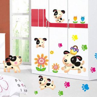 Happy Puppy Dog Sunflower Mural Art Removable Decals Wall Sticker Kids