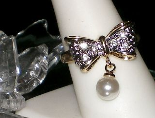VINTAGE FAUX PEARL BOW RING~SWAROVSKI CRYSTAL~SZ 8~NEW