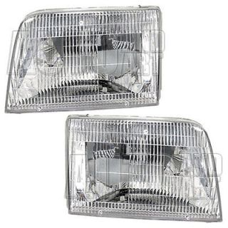 New Pair Set Headlight Headlamp Lens Housing Assembly SAE DOT 93 97