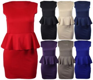 New Womens Sleeveless Stretch Peplum Skirt Ladies Bodycon Dress Plus