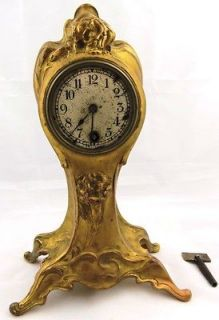 antique Imperial Russian gild bronze Art Nouveau mantel clock 19th C