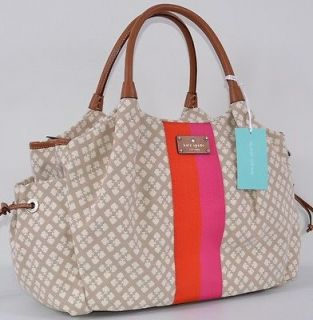 NWT KATE SPADE CLASSIC SPADE STUCCO BEIGE STEVIE BABY DIAPER BAG PURSE