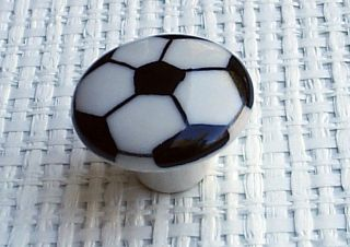 Soccer Ball Cabinet Knob Drawer Pull 1 1/2 Kids Room Sports Decor