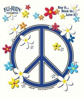 peace sign w/ daisies decal sticker 60s hippie hippy wiccan