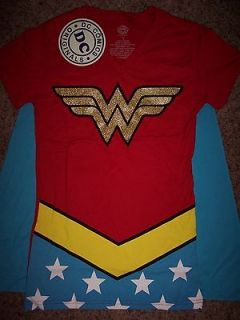 Wonder Woman Glitter Dc Comics Costume With Cape Womens V Neck T Shirt