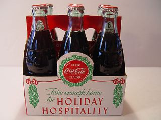 Pack Coca Cola Holiday Hospitality 6.5OZ Bottles 1988 Christmas